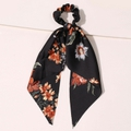 Seidenband Scrunchie Black Flowers