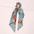 Seidenband Scrunchie Dustblue Flowers